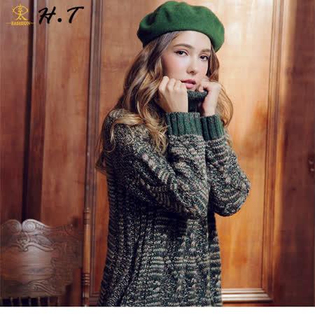 玄太-高領寬鬆麻花格紋雙口袋長版毛衣洋裝(綠)