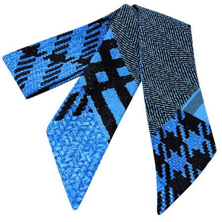 BURBERRY 幾何圖樣雙面造型絲巾-藍色