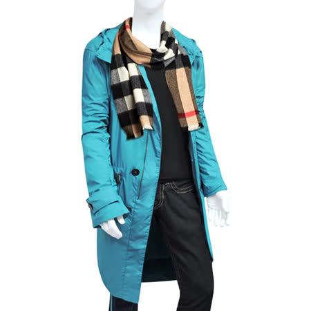 BURBERRY 紳士長版風衣外套-L號/湖水藍