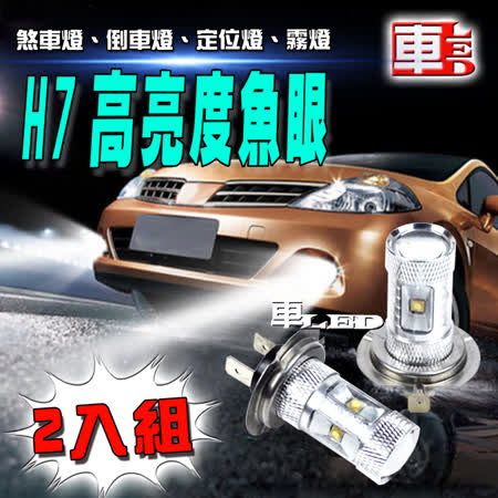 【車的LED】H7魚眼 6LED 白光 30W (雙入組)