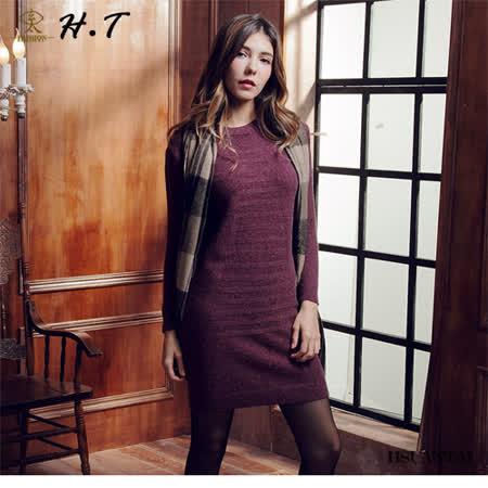 玄太-純色柔感特色織紋修身洋裝/毛衣(酒紅色)