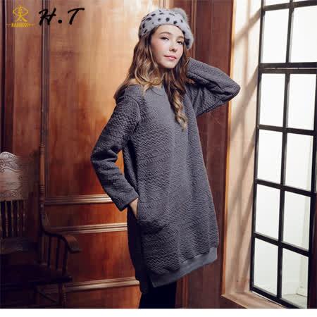 玄太- 休閒幾何布紋造型下擺長版上衣(灰)