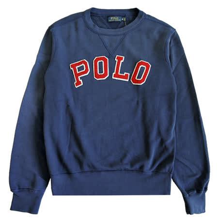 Ralph Lauren V縫線立體POLO字母圓領刷毛大學T(深藍)