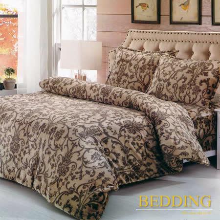 【BEDDING】超保暖法蘭絨 雙人加大四件式鋪棉床包兩用被毯組   北歐風情