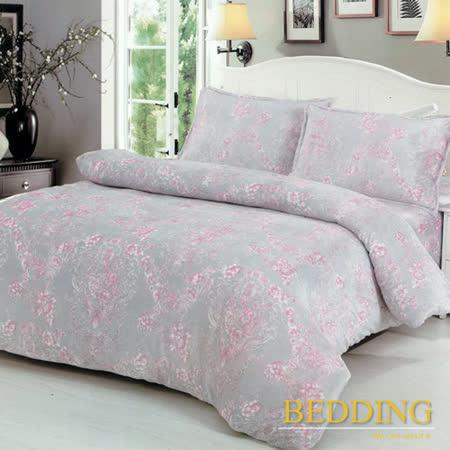 【BEDDING】超保暖法蘭絨 雙人加大四件式鋪棉床包兩用被毯組  花語怡然(粉)