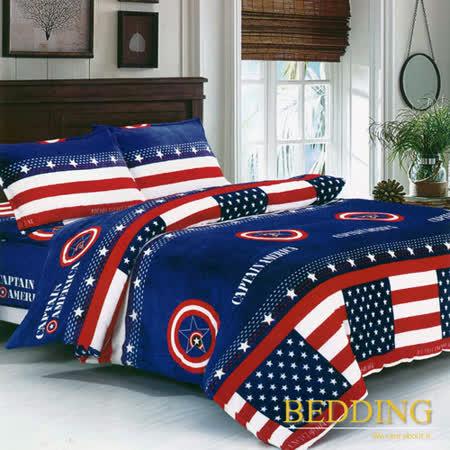 【BEDDING】超保暖法蘭絨 雙人加大四件式鋪棉床包兩用被毯組 美國夢