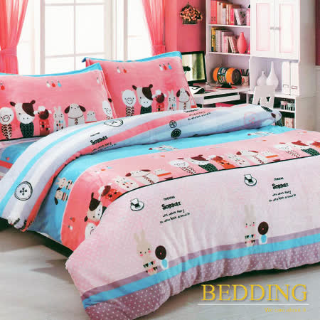 【BEDDING】超保暖法蘭絨 雙人加大四件式鋪棉床包兩用被毯組 搪瓷娃娃