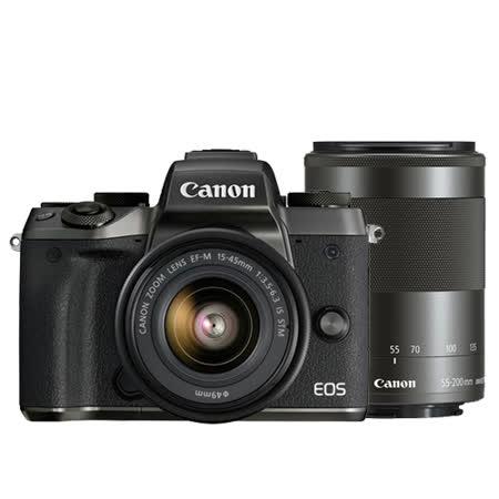Canon EOS M5 15-45mm + 55-200mm 雙鏡組(公司貨)-送SanDisk 64G 90MB記憶卡+原廠電池+保護鏡X2+HDMI+遙控器+大吹球清潔組+拭鏡筆+相機包