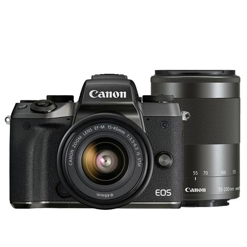 Canon EOS M5 15-45mm+55-200mm雙鏡組(公司貨)-送SanDisk 64G 90MB記憶卡+原廠電池+保護鏡X2+HDMI+遙控器+吹球清潔組+拭鏡筆+相機包+皮質手腕帶