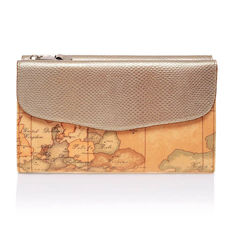 Alviero Martini 義大利地圖包 漆皮女用長夾-香檳金/地圖黃
