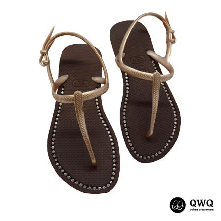 【QWQ】創意設計夾腳拖鞋-璀璨晶鑽-咖啡色(涼鞋)
