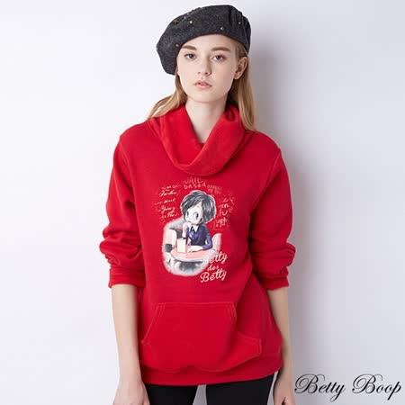 【Betty Boop貝蒂】刷毛鬆糕領印圖口袋長版上衣(共二色)
