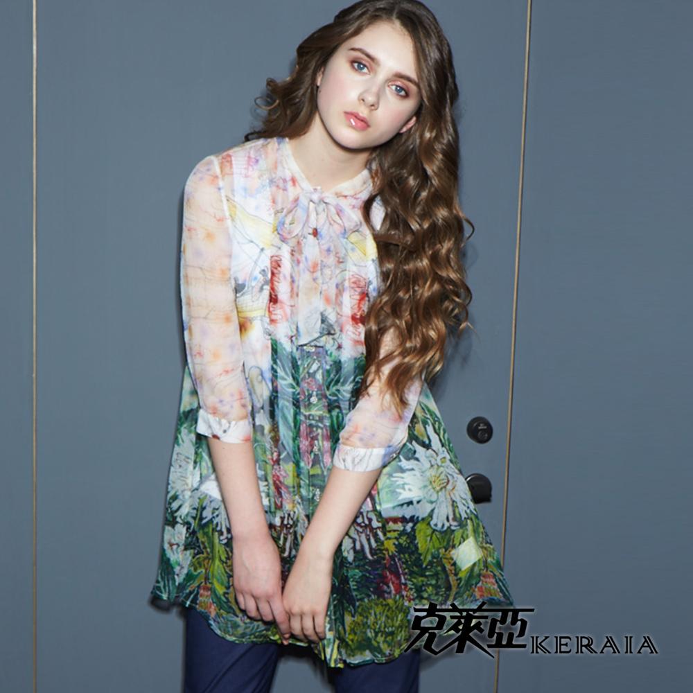 【克萊亞KERAIA】女神透膚印花絲質襯衫-附背心
