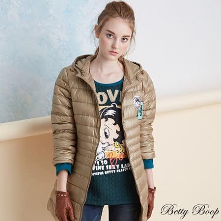 【Betty Boop貝蒂】大圖拼接磨毛壓紋太空棉上衣(共二色)