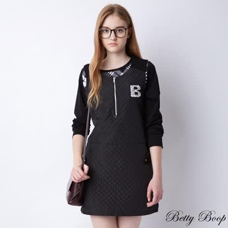 【Betty Boop貝蒂】菱格針織拉鍊式刷毛背心洋裝(黑色)