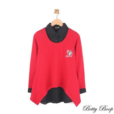 【Betty Boop貝蒂】假兩件點點傘擺針織雪紡襯衫上衣(紅色)