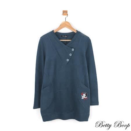 【Betty Boop貝蒂】絨布開釦領口袋拼接長版上衣(藍綠色)