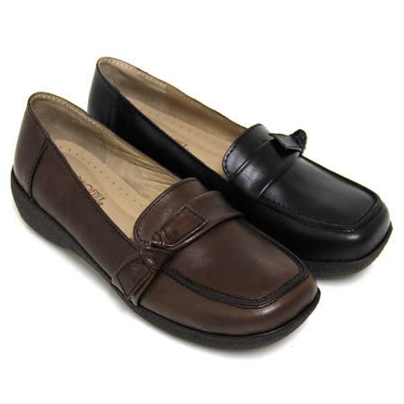 【GREEN PHOENIX】扭轉蝴蝶結套入式臘感牛皮厚底休閒鞋