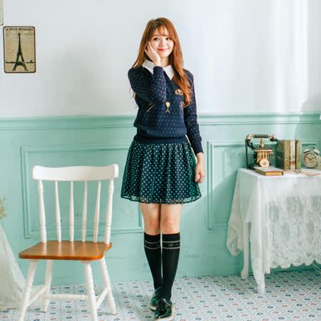 Wonderland 日系風甜美刺繡上衣(深藍)