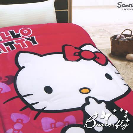 【HelloKitty】 法蘭絨 凱蒂貓暖暖被-快樂生活(紅)