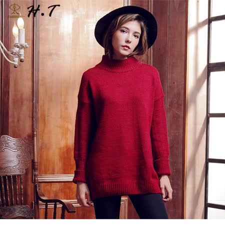 玄太-簡約半高領寬鬆保暖長版毛衣(紅)