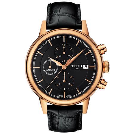 TISSOT Carson 經典三眼計時機械腕錶-黑x玫瑰金框/42mm T0854273606100