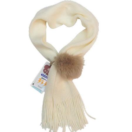 【波克貓哈日網】保暖淑女圍巾◇日本製造◇《單毛球米白色》