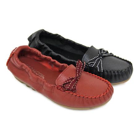 【GREEN PHOENIX】扭轉點點蝴蝶結束口帶全真皮平底娃娃鞋