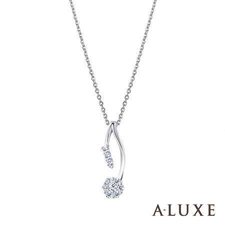A-LUXE 亞立詩 18K金0.21克拉時尚花都鑽石項鍊