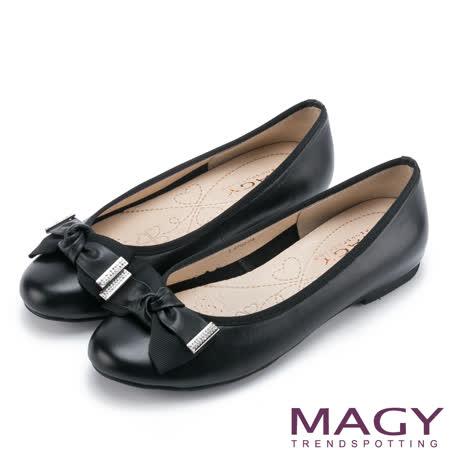 MAGY 甜美可愛系 牛皮扭結蝴蝶結平底娃娃鞋-黑色