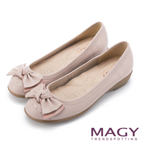 MAGY 清新氣質系女孩 紐結蝴蝶結牛皮低跟鞋-粉紅