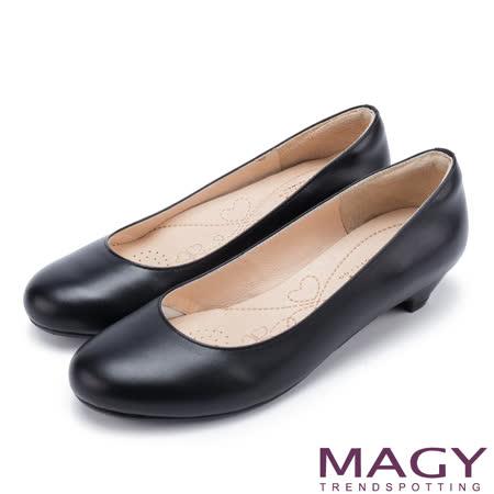 MAGY 氣質首選 嚴選牛皮素壓舒適粗中跟鞋-黑色