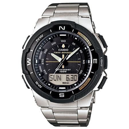 【CASIO 卡西歐】戶外運動全新指針數位羅盤雙顯腕錶(46mm/SGW-500HD-1B)