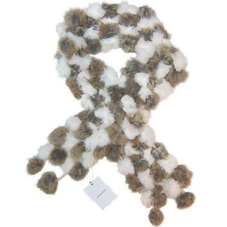 【波克貓哈日網】日系流行圍巾◇兔毛球設計◇《米白+棕色》
