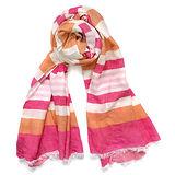 COACH桃紅粉橘寬細橫條紋長圍巾(203x76)