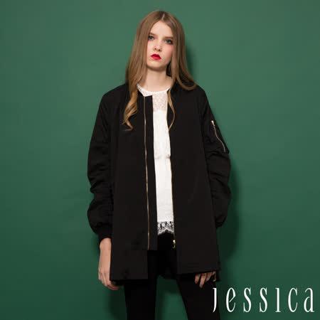 JESSICA RED-率性MA-1拉鏈造型飛行夾克外套(黑)