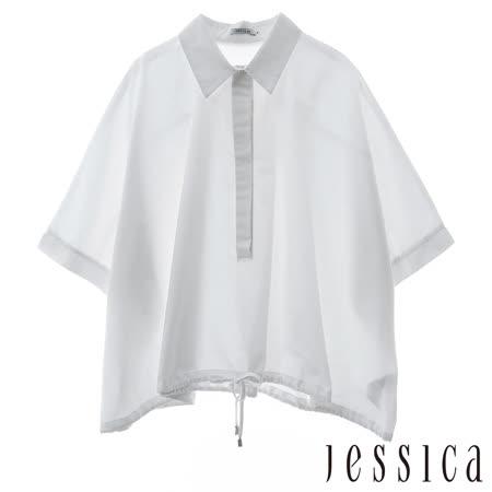 JESSICA RED-寬袖立領綁帶造型襯衫 (白)
