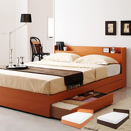 Peachy life 附插座台灣Ever限定床組-附獨立筒式彈簧床墊 雙人5尺(兩色可選)
