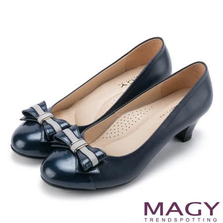 MAGY 甜美通勤 蝴蝶結雙皮質拼接舒適中跟鞋-藍色