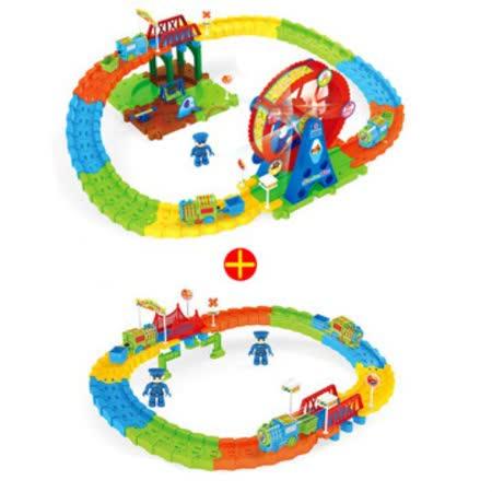 【孩子國】歡樂拼裝電動火車軌道超值組