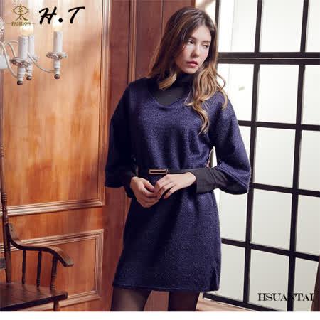 玄太-摩登亮彩側開叉七分袖洋裝(藍)
