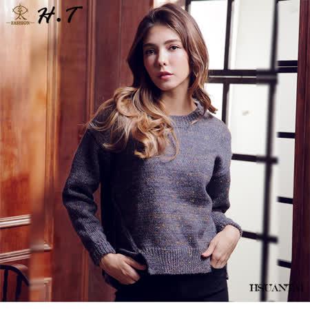 玄太-圓領多色織紋造型下擺毛衣(藍紫)