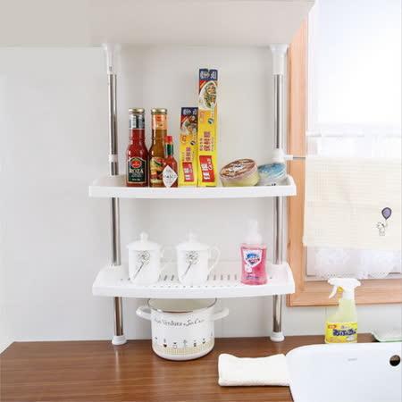 [龍芝族]KT0013-頂天立地廚房調料置物架 不鏽鋼雙層多功能掛調味瓶勺筷收納架
