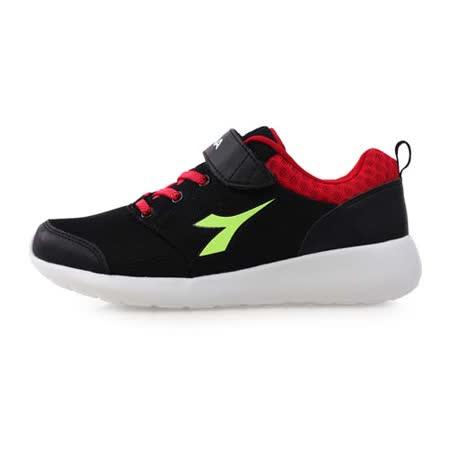 (童) DIADORA 男女大慢跑鞋-慢跑 寬楦 兒鞋 黑紅