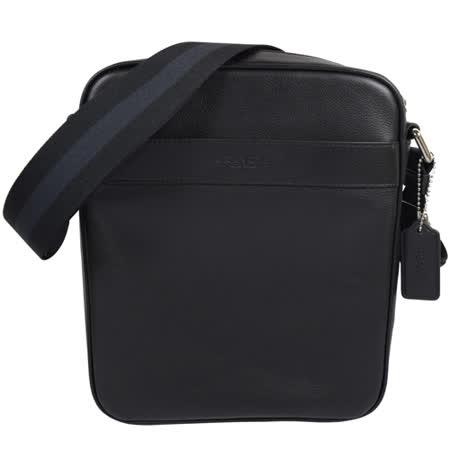 COACH 經典LOGO烙印全皮革雙色織帶斜背包.黑