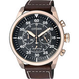 CITIZEN 星辰 Eco-Drive光動能 復古飛行時尚腕錶/45mm/CA4213-00E