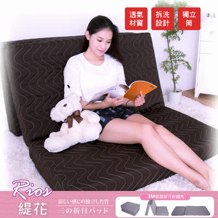 【BNS居家生活館】RIOS緹花超薄獨立筒三折墊(3尺單人90x188cm)