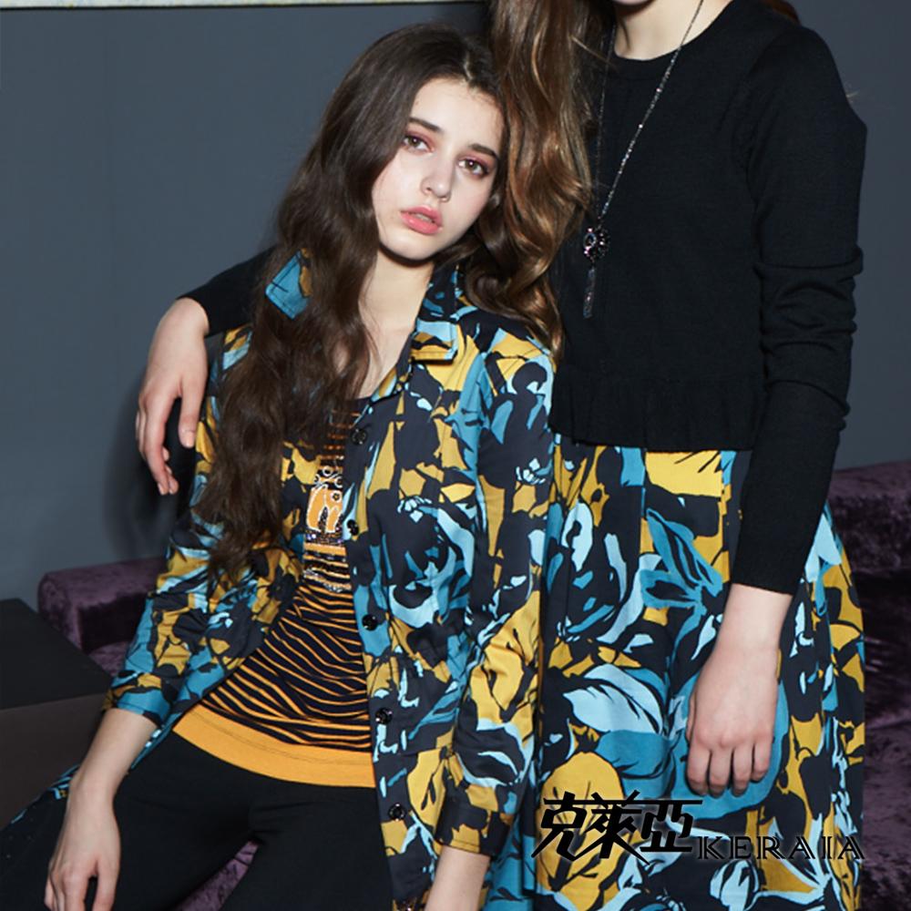 【克萊亞KERAIA】都會女人印花襯衫式外套