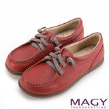 MAGY 樂活休閒 素面縫線鬆緊帶牛皮休閒鞋-紅色