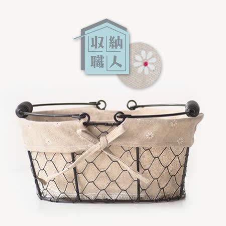 【收納職人】Zakka日系雜貨風橢圓鐵線編織棉麻裡布手把提籃/收納籃 (橢圓-小花款)